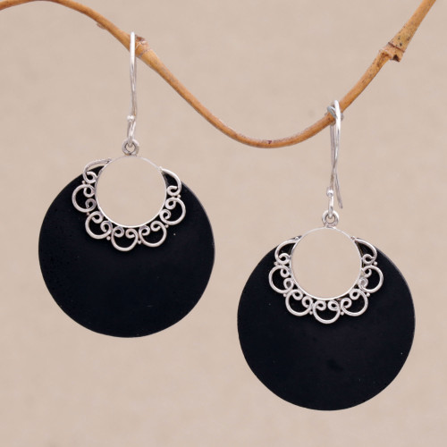 Sterling Silver and Lava Stone Crescent Earrings from Bali 'Crescent Lace'