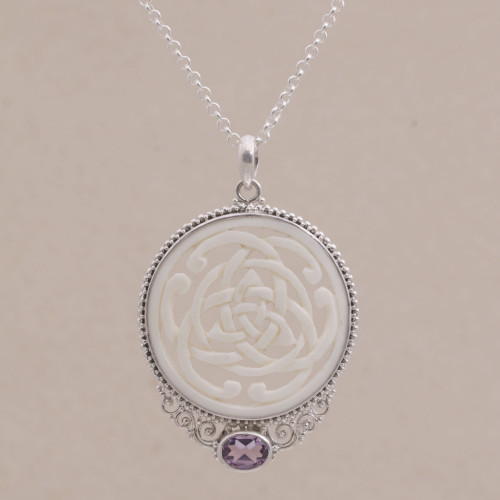 Amethyst Sterling Silver and Bone Pendant Necklace from Bali 'Circle of Power'