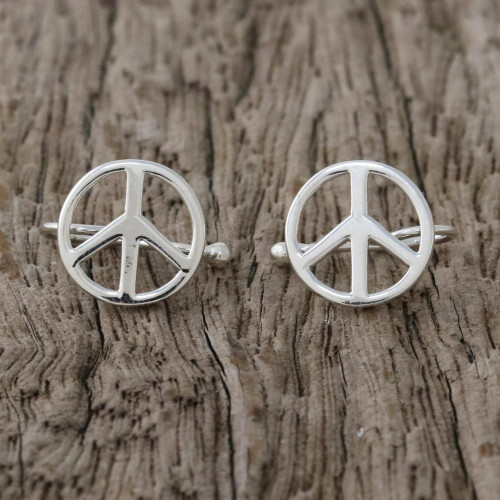 Sterling Silver Peace Sign Ear Cuffs from Thailand 'Shimmering Peace'