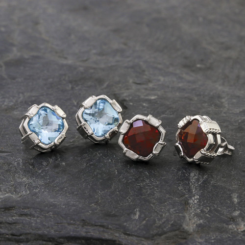 Rhodium Plated Blue Topaz Button Earrings from Thailand 'Everyday Glitz'