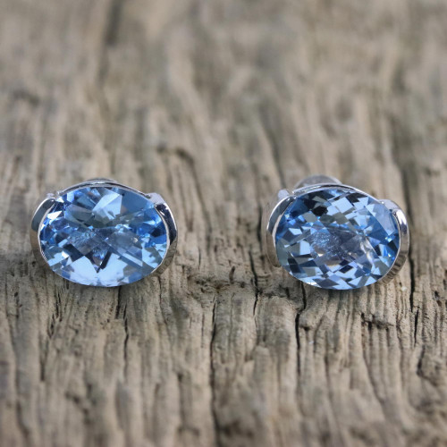 Rhodium Plated Blue Topaz Stud Earrings from Thailand 'Precious Gift'