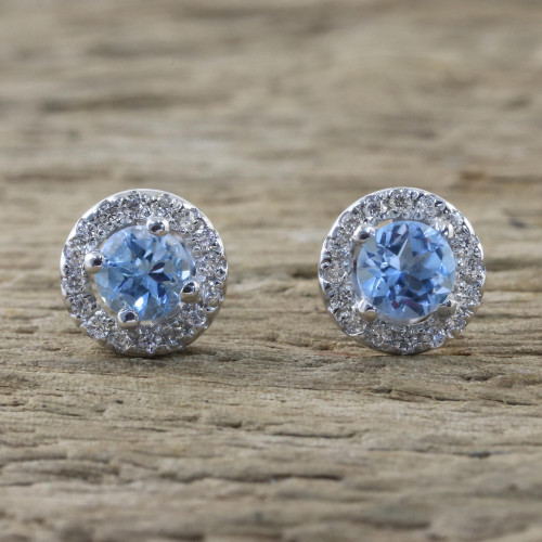 Blue Topaz and Cubic Zirconia Stud Earrings from Thailand 'Glamour and Grace'