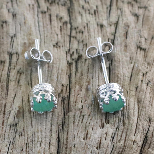 Rhodium Plated Emerald Stud Earrings from Thailand 'Brilliant Splendor'