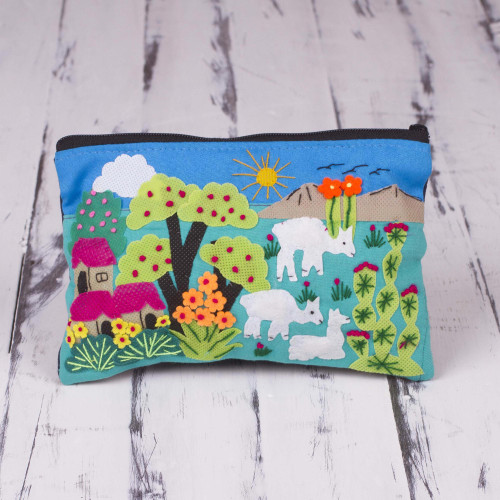 Patchwork Fair Trade Cosmetic Case with Peruvian Landscape 'Blue Alpaca Afternoon'