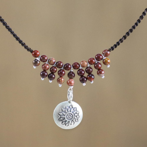 Karen Silver and Jasper Pendant Necklace from Thailand 'Romantic Whisper'