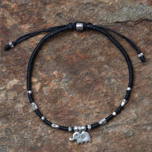 Artisan Crafted Black Bracelet with Hill Tribe Silver Charm 'Elephant Luck'
