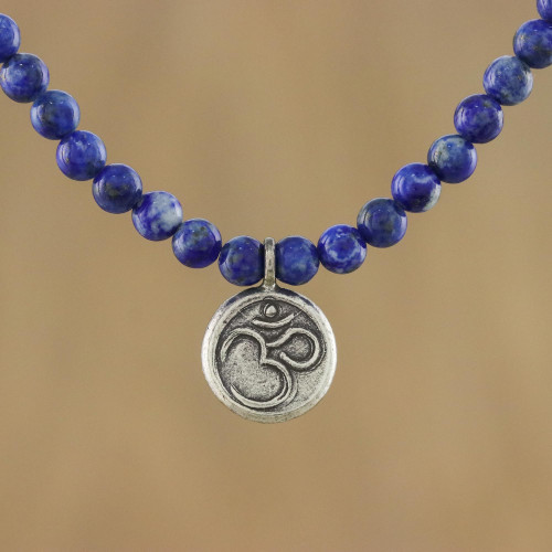 Lapis Lazuli and 950 Silver Beaded Pendant Necklace 'Om Concentration'