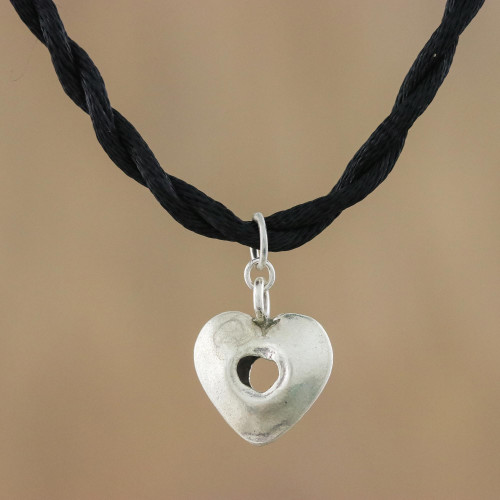 Karen Silver Heart Pendant Necklace from Thailand 'Hole in My Heart'
