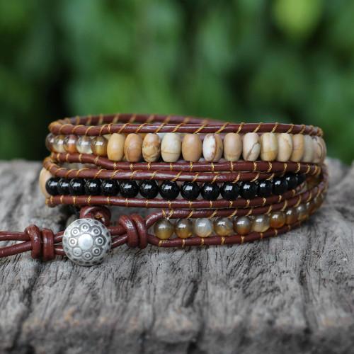 Karen Silver Multigem Beaded Wrap Bracelet from Thailand 'Earthen Blend'