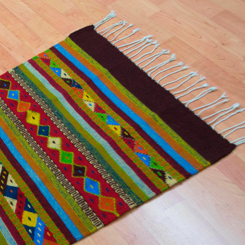 2.5x5 Handwoven Multicolored Wool Area Rug from Mexico 'Rainbow View'