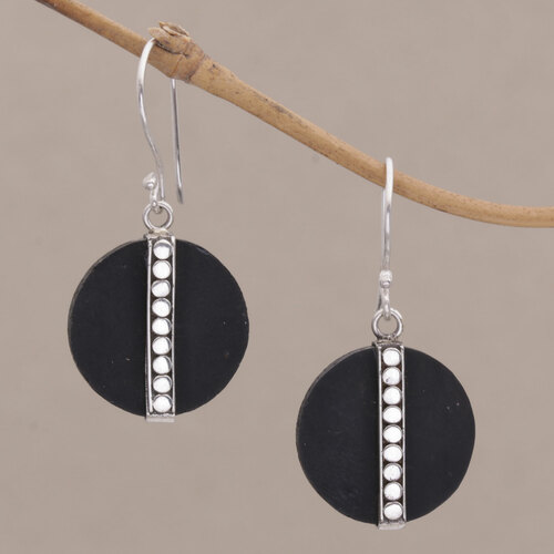 Dot Motif Lava Stone and Sterling Silver Earrings from Bali 'Dotted Discs'