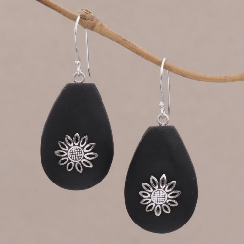 Lava Stone and Sterling Silver Floral Earrings from Bali 'Pura Petals'