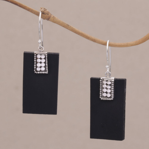 Indonesian Lava Stone and Sterling Silver Handmade Earrings 'Sukawati Dominoes'