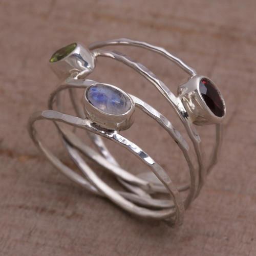 Unique Multigemstone Sterling Silver Ring from Bali 'Brilliant Majesty'