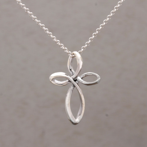 925 Sterling Silver Cross Pendant Necklace from Bali 'Cross Loops'