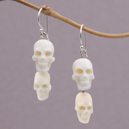 Handcrafted Bone Skull Dangle Earrings from Bali 'Trunyan Skulls'