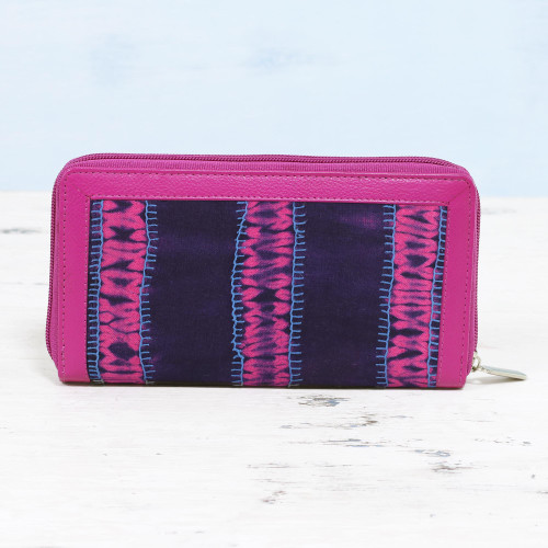 Batik Cotton Leather Accent Wallet in Berry and Navy 'Enchanted Berry'