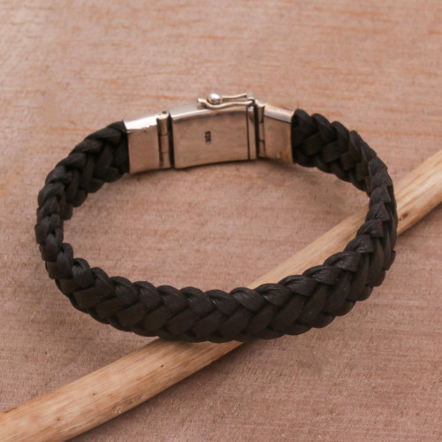 Black Leather Braided Wristband Bracelet from Bali 'Kintamani Braid in Black'