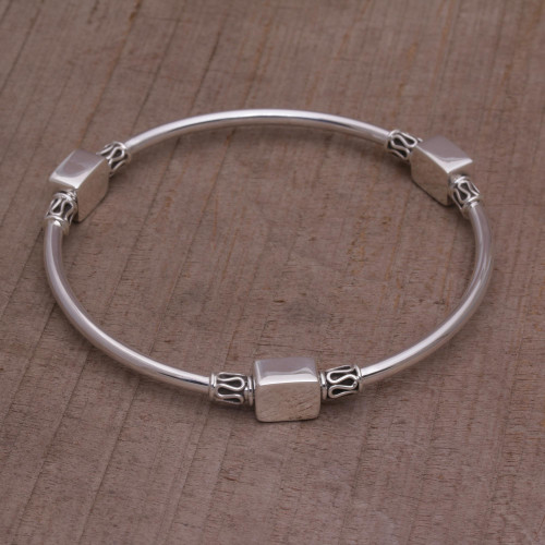Sterling Silver Square Shape Bangle Bracelet from Bali 'Square Reflection'