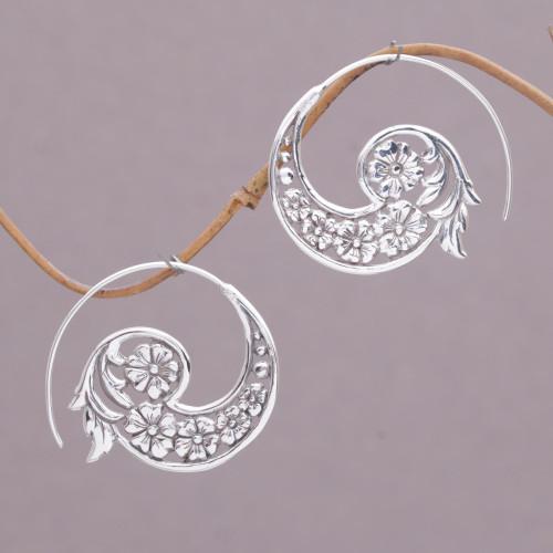 Handmade Sterling Silver Half Hoop Earrings from Indonesia 'Dazzling Flourish'