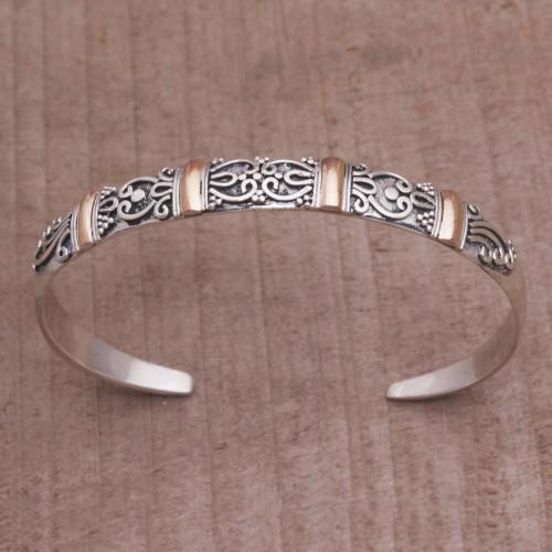 18k Gold Accent Sterling Silver Cuff Bracelet from Bali 'Merajan Mystique'