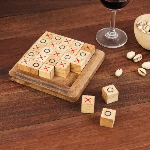 Handcrafted Large Wood Tic-Tac-Toe Board from Thailand 'Extreme Tic-Tac-Toe'