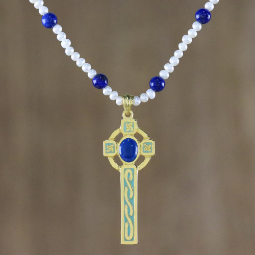 Gold Plated Cultured Pearl and Lapis Lazuli Cross Necklace 'Faithful Soul in Blue'