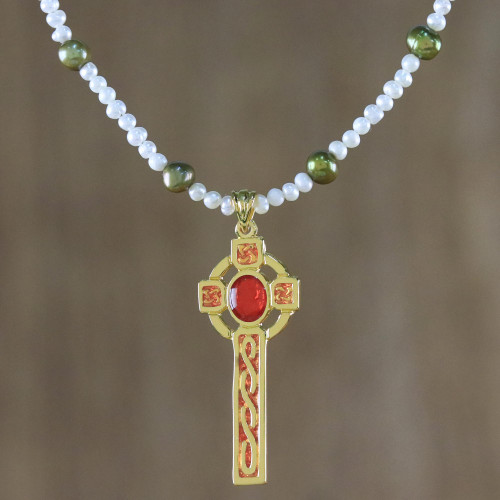 Gold Plated Cultured Pearl Red Cross Necklace from Thailand 'Faithful Soul in Red'