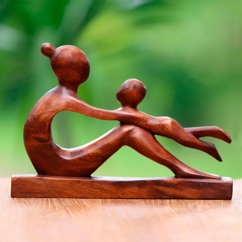 Hand-Carved Suar Wood Mother and Child Sculpture from Bali 'Playful Mother'