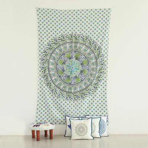 Animal Themed Printed Cotton Wall Hanging from India 'Forest Mandala'