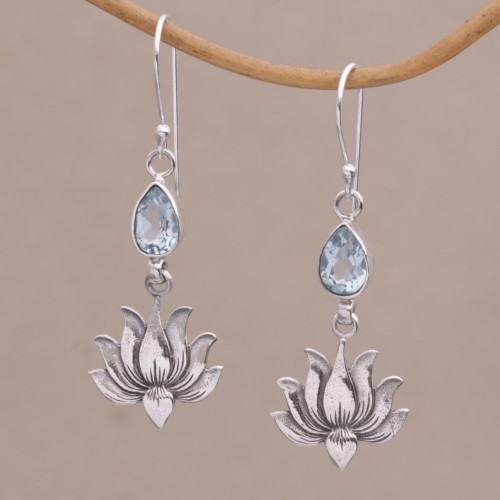 925 Silver Lotus Hook Earrings with Blue Topaz from Bali 'Sacred Bloom'