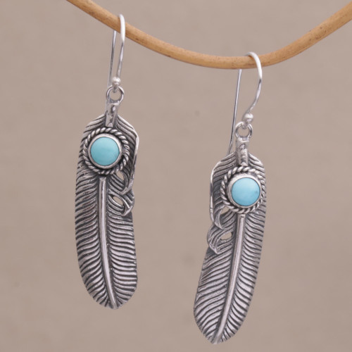 Turquoise and 925 Silver Feather Dangle Earrings from Bali 'Turquoise Transcendence'