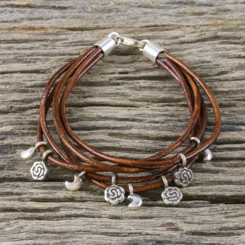 Handmade Brown Leather Crescent Moon and Rose Charm Bracelet 'Brown Moons and Roses'