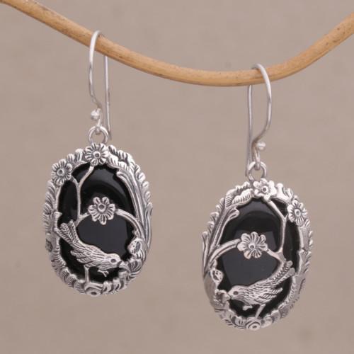 Onyx and 925 Silver Bird-Themed Dangle Earrings from Bali 'Avian Curiosity'