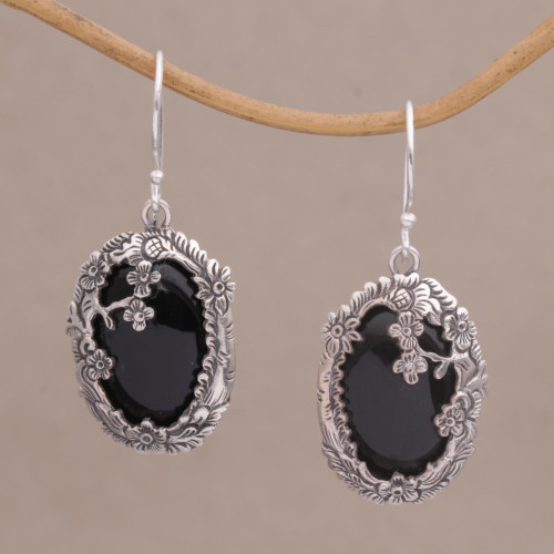 Onyx and Sterling Silver Floral Dangle Earrings from Bali 'Dreamy Forest'