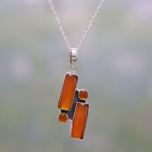 Carnelian and Sterling Silver Pendant Necklace from India 'Radiant Allure'