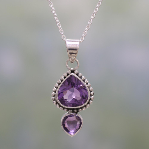 Amethyst and Sterling Silver Pendant Necklace from India 'Lovely Radiance'