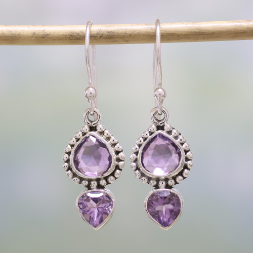 Amethyst and Sterling Silver Dangle Earrings from India 'Lovely Radiance'