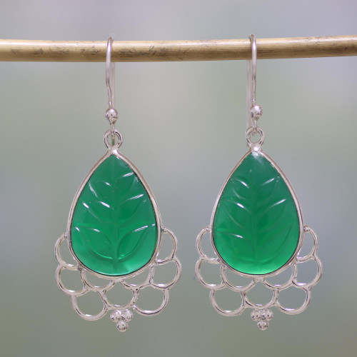 Green Onyx and Sterling Silver Dangle Earrings from India 'Verdant Magnificence'