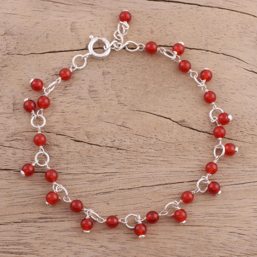 Carnelian and Sterling Silver Link Bracelet from India 'Fiery Circle'