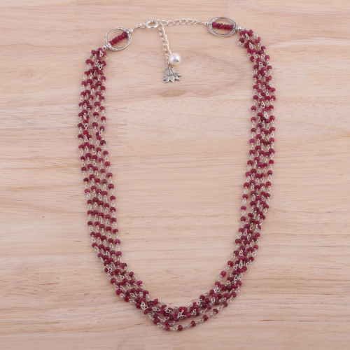 Ruby and Cultured Pearl Beaded Necklace from India 'Lotus Beauty'