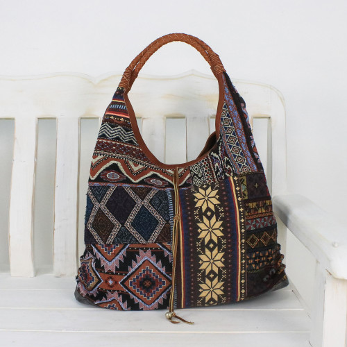 Leather Accent Cotton Blend Hobo Handbag from Thailand 'Geometric Shopper'