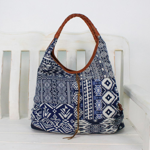 Leather Accent Cotton Blend Hobo Bag in Lapis and White 'Lapis Geometry'