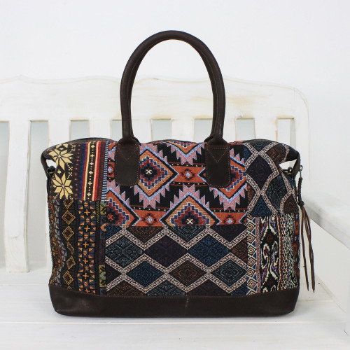 Leather Accent Cotton Blend Tote Handbag from Thailand 'Exotic Journey'
