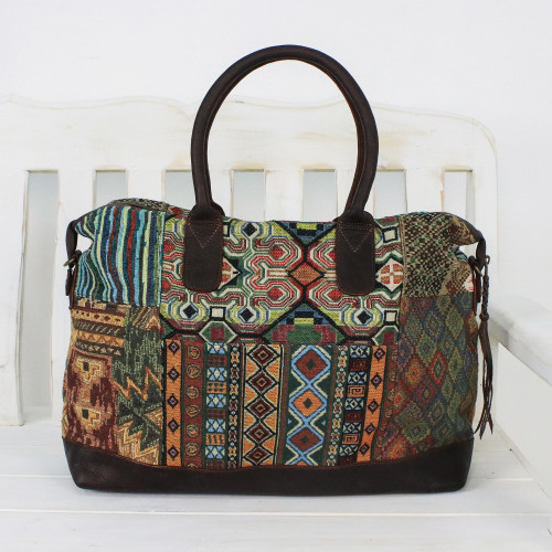 Leather Accent Cotton Blend Handbag from Thailand 'Exotic Traveler'