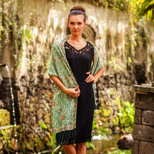Batik Silk Shawl with Moss Green Floral Motifs from Bali 'Forest Waves in Moss Green'