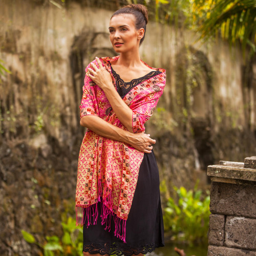 Batik Silk Shawl with Fuchsia Floral Motifs from Bali 'Kawung Plains in Fuchsia'