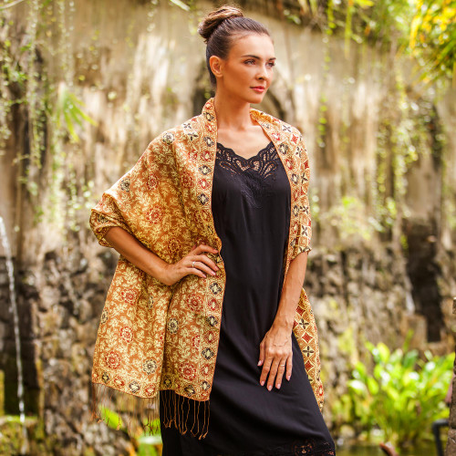 Batik Silk Shawl with Ginger Floral Motifs from Bali 'Truntum Forest in Ginger'
