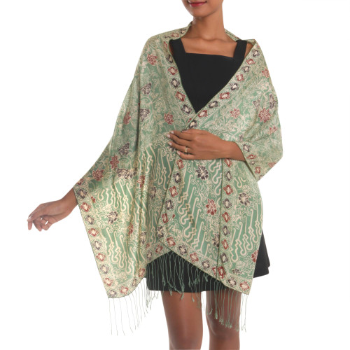 Batik Silk Shawl with Moss Green Floral Motifs from Bali 'Alluring Lily in Moss Green'