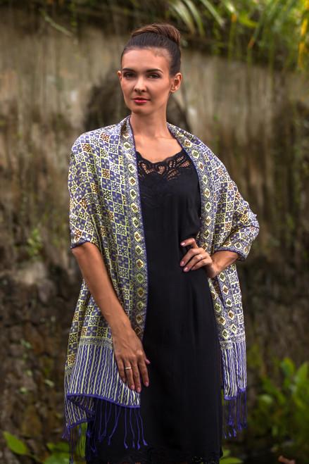 Batik Silk Shawl with Multicolored Floral Motifs from Bali 'Ceplok Petals in Indigo'